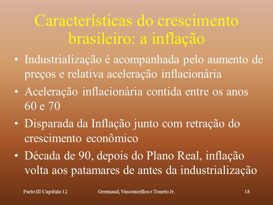 Parte III Capítulo 12Gremaud, Vasconcellos e Toneto Jr.18 Características do crescimento brasileiro: a inflação Industrialização é acompanhada pelo au