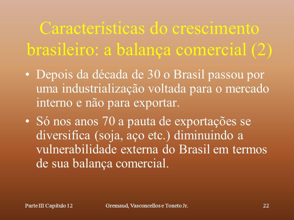 Parte III Capítulo 12Gremaud, Vasconcellos e Toneto Jr.22 Características do crescimento brasileiro: a balança comercial (2) Depois da década de 30 o