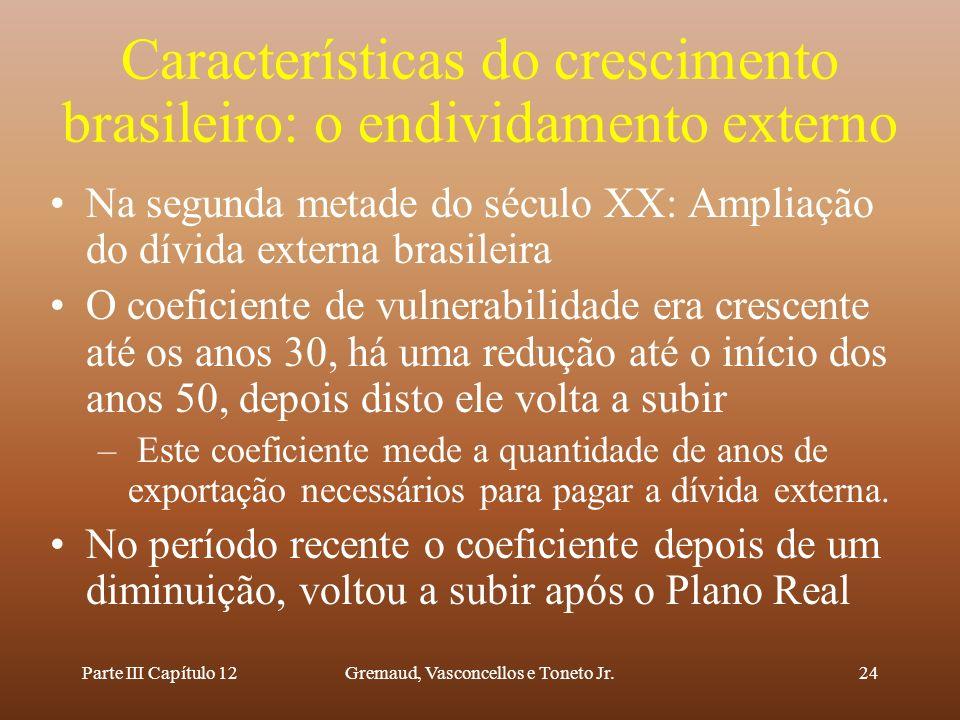 Parte III Capítulo 12Gremaud, Vasconcellos e Toneto Jr.24 Características do crescimento brasileiro: o endividamento externo Na segunda metade do sécu