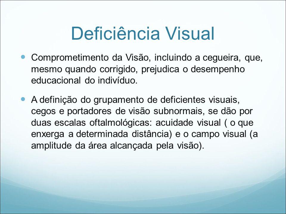 Deficiência Visual Comprometimento da Visão, incluindo a cegueira, que, mesmo quando corrigido, prejudica o desempenho educacional do indivíduo. A def