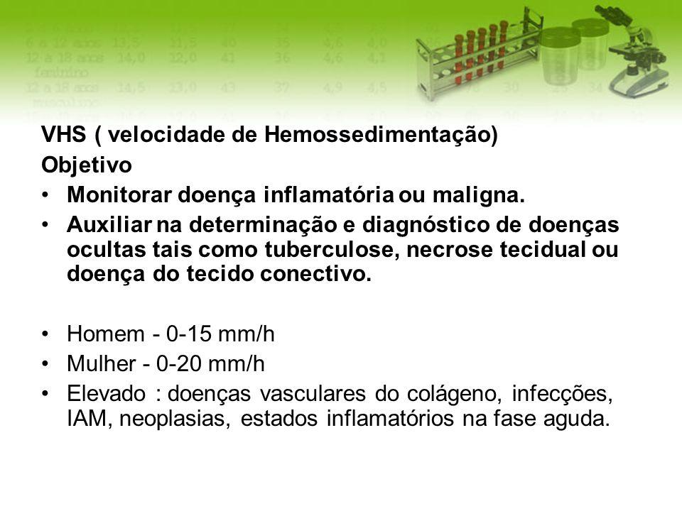 VHS ( velocidade de Hemossedimentação) Objetivo Monitorar doença inflamatória ou maligna. Auxiliar na determinação e diagnóstico de doenças ocultas ta