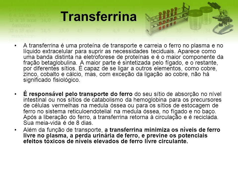Transferrina A transferrina é uma proteína de transporte e carreia o ferro no plasma e no líquido extracelular para suprir as necessidades teciduais.