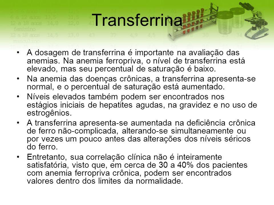 Transferrina A dosagem de transferrina é importante na avaliação das anemias. Na anemia ferropriva, o nível de transferrina está elevado, mas seu perc