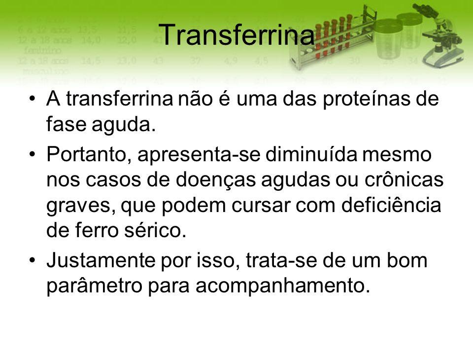 Transferrina A transferrina não é uma das proteínas de fase aguda. Portanto, apresenta-se diminuída mesmo nos casos de doenças agudas ou crônicas grav