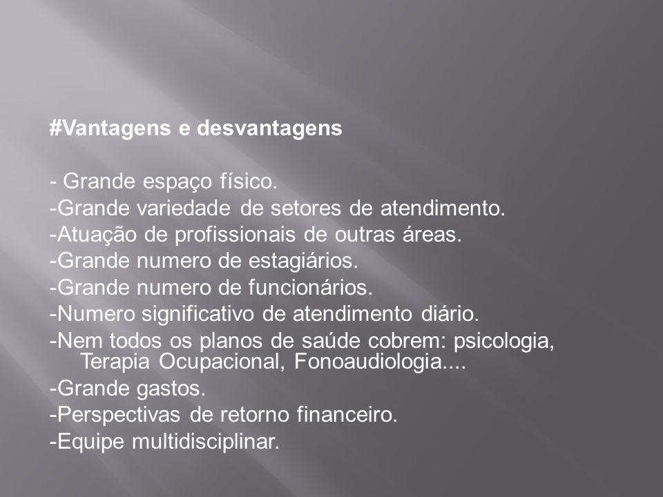 #Vantagens e desvantagens - Grande espaço físico. -Grande variedade de setores de atendimento. -Atuação de profissionais de outras áreas. -Grande nume