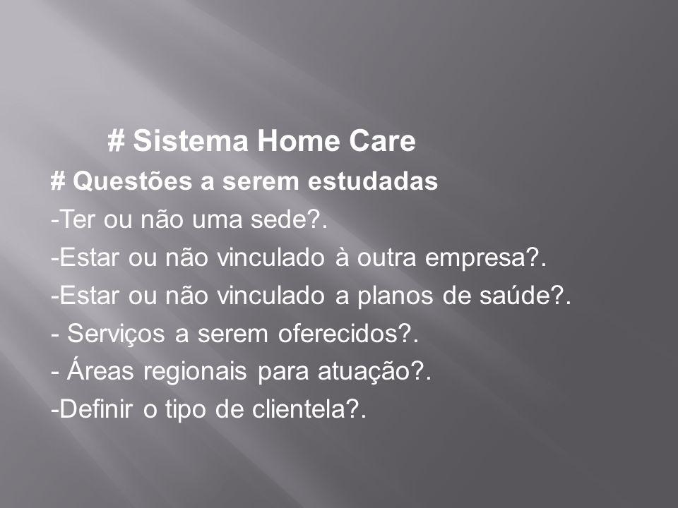 # Sistema Home Care # Questões a serem estudadas -Ter ou não uma sede?. -Estar ou não vinculado à outra empresa?. -Estar ou não vinculado a planos de