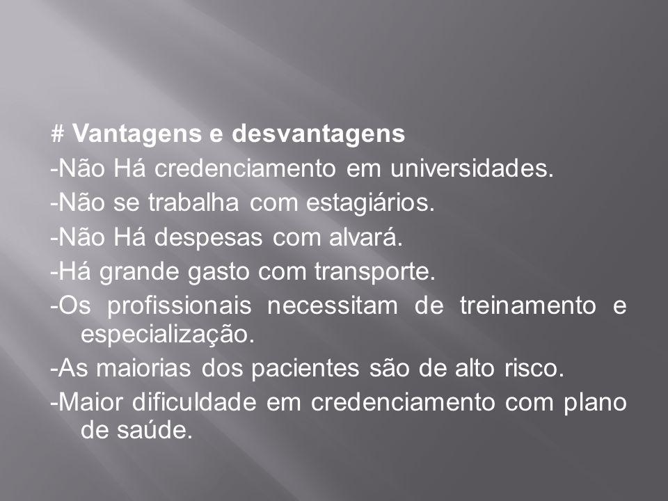 # Vantagens e desvantagens -Não Há credenciamento em universidades. -Não se trabalha com estagiários. -Não Há despesas com alvará. -Há grande gasto co