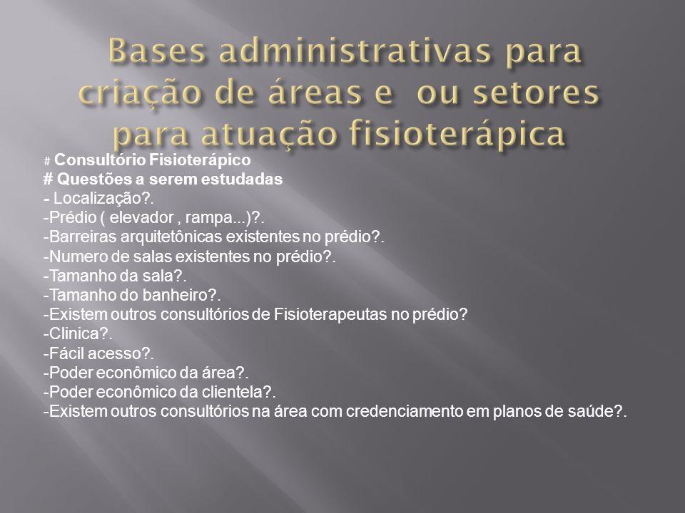 # Consultório Fisioterápico # Questões a serem estudadas - Localização?. -Prédio ( elevador, rampa...)?. -Barreiras arquitetônicas existentes no prédi