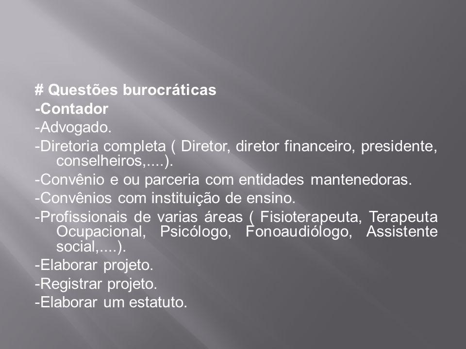 # Questões burocráticas -Contador -Advogado. -Diretoria completa ( Diretor, diretor financeiro, presidente, conselheiros,....). -Convênio e ou parceri