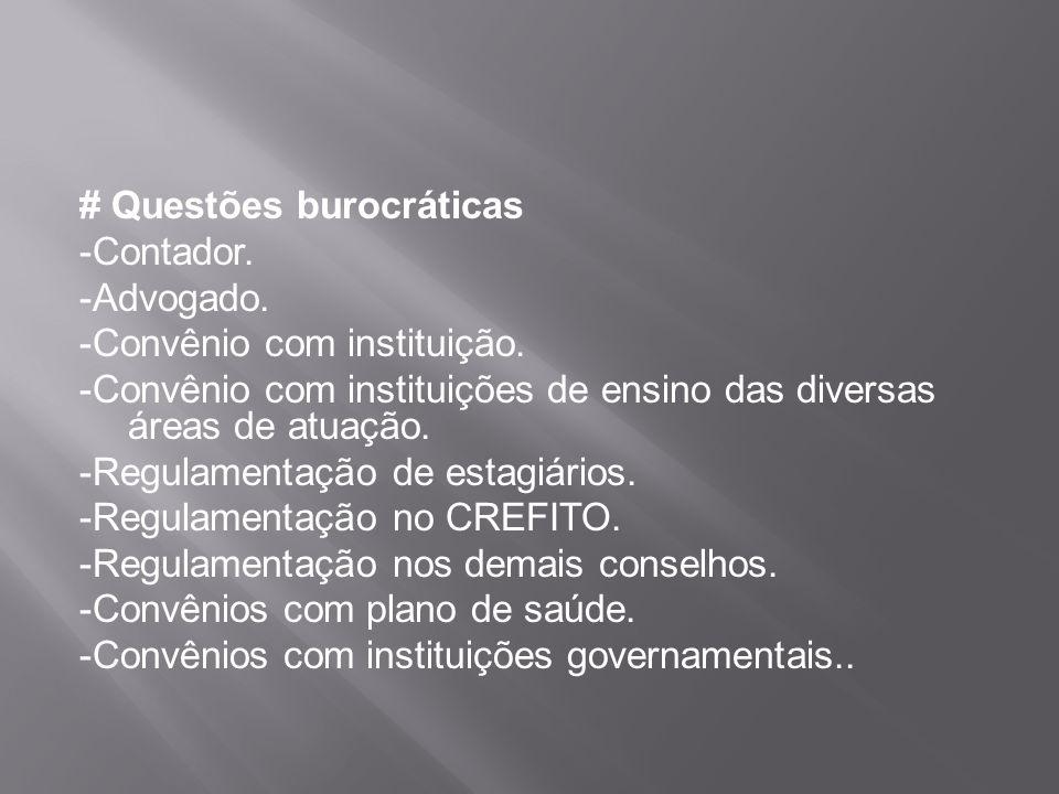 # Questões burocráticas -Contador. -Advogado. -Convênio com instituição. -Convênio com instituições de ensino das diversas áreas de atuação. -Regulame