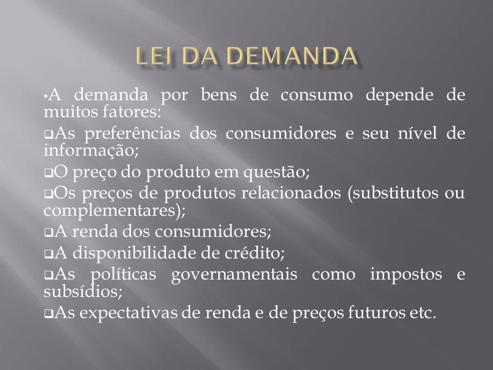 A demanda por bens de consumo depende de muitos fatores: As preferências dos consumidores e seu nível de informação; O preço do produto em questão; Os