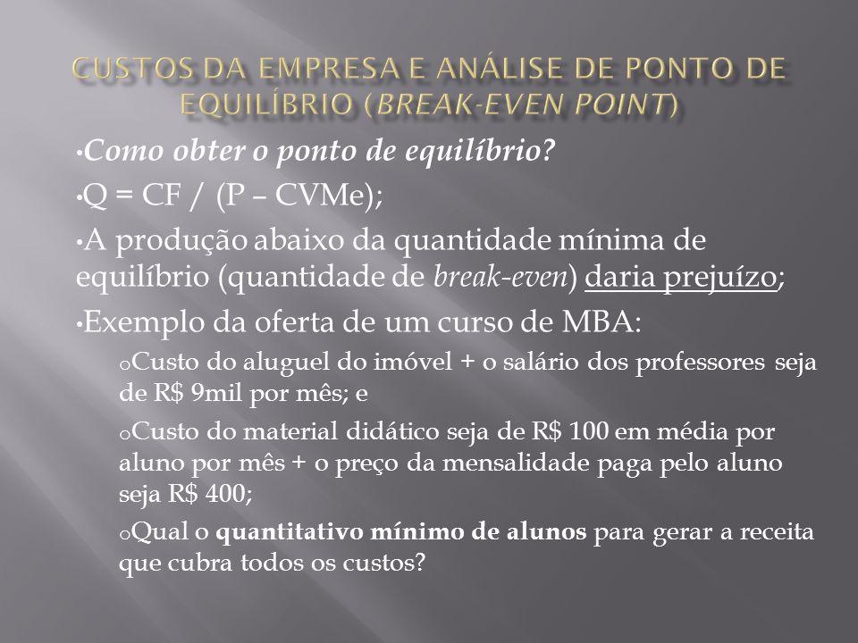 Como obter o ponto de equilíbrio? Q = CF / (P – CVMe); A produção abaixo da quantidade mínima de equilíbrio (quantidade de break-even ) daria prejuízo