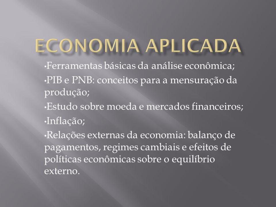 Ferramentas básicas da análise econômica; PIB e PNB: conceitos para a mensuração da produção; Estudo sobre moeda e mercados financeiros; Inflação; Rel
