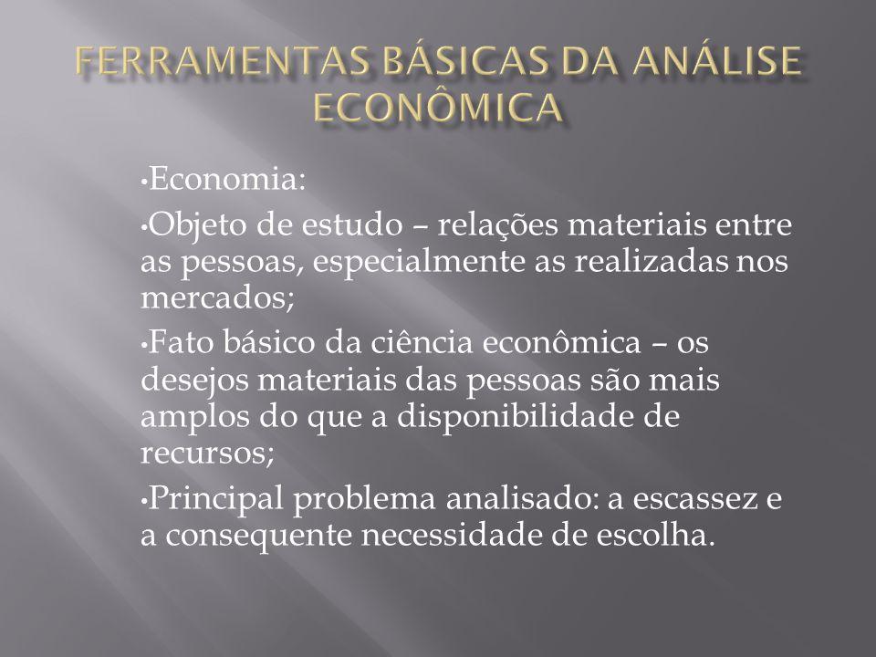 Economia: Objeto de estudo – relações materiais entre as pessoas, especialmente as realizadas nos mercados; Fato básico da ciência econômica – os dese