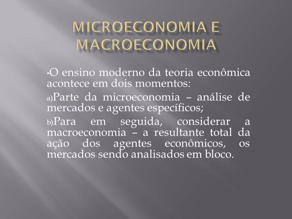 O ensino moderno da teoria econômica acontece em dois momentos: a) Parte da microeconomia – análise de mercados e agentes específicos; b) Para em segu