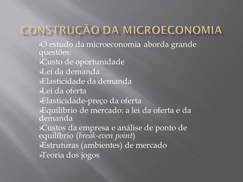O estudo da microeconomia aborda grande questões: Custo de oportunidade Lei da demanda Elasticidade da demanda Lei da oferta Elasticidade-preço da ofe