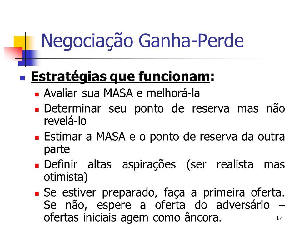 18 Negociação Ganha-Perde Estratégias que funcionam: Reancore-se imediatamente se a outra parte abrir a negociação.