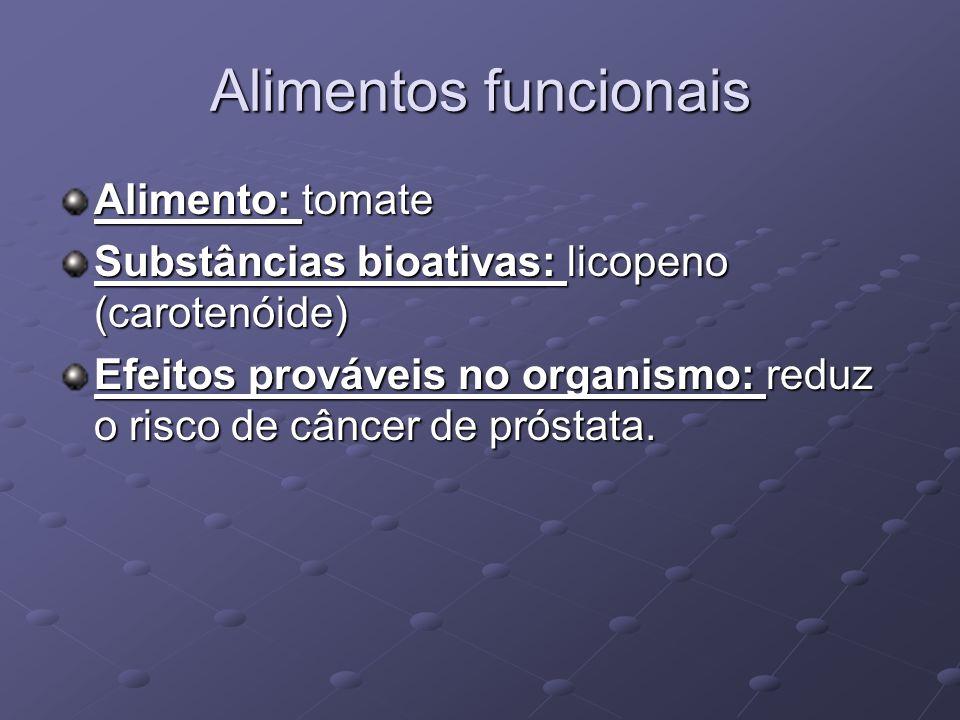 Alimentos funcionais Alimento: tomate Substâncias bioativas: licopeno (carotenóide) Efeitos prováveis no organismo: reduz o risco de câncer de próstata.