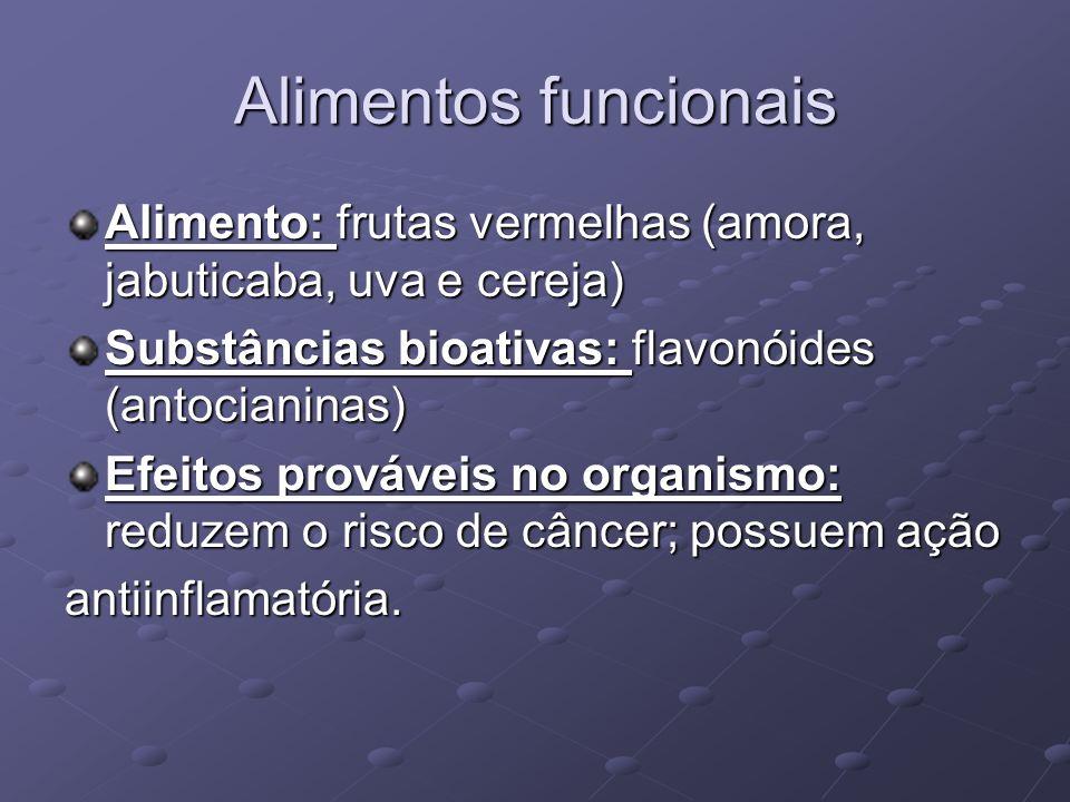 Alimentos funcionais Alimento: frutas vermelhas (amora, jabuticaba, uva e cereja) Substâncias bioativas: flavonóides (antocianinas) Efeitos prováveis no organismo: reduzem o risco de câncer; possuem ação antiinflamatória.