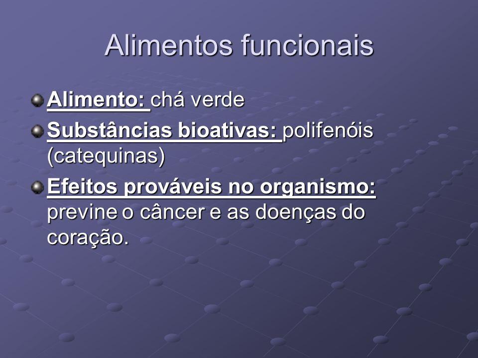 Alimentos funcionais Alimento: chá verde Substâncias bioativas: polifenóis (catequinas) Efeitos prováveis no organismo: previne o câncer e as doenças do coração.