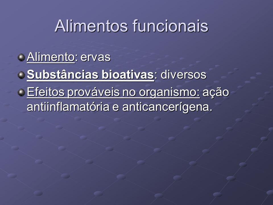 Alimentos funcionais Alimento: ervas Substâncias bioativas: diversos Efeitos prováveis no organismo: ação antiinflamatória e anticancerígena.