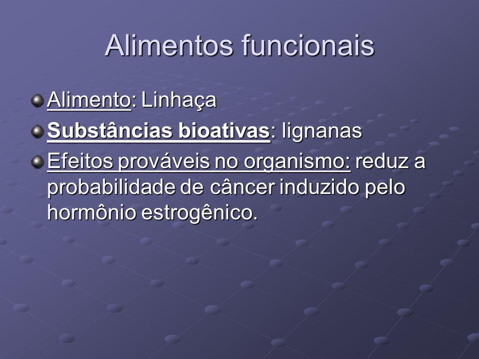 Alimentos funcionais Alimento: Linhaça Substâncias bioativas: lignanas Efeitos prováveis no organismo: reduz a probabilidade de câncer induzido pelo hormônio estrogênico.