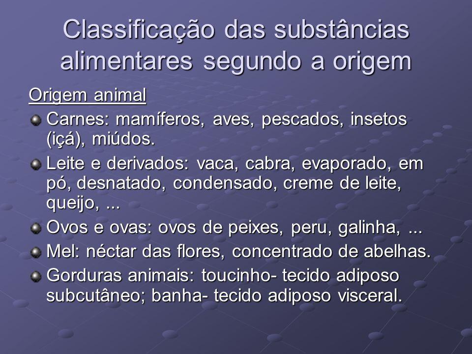 Classificação das substâncias alimentares segundo a origem Origem animal Carnes: mamíferos, aves, pescados, insetos (içá), miúdos.