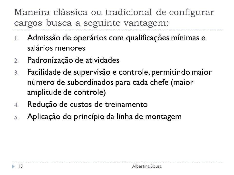 Maneira clássica ou tradicional de configurar cargos busca a seguinte vantagem: 1.