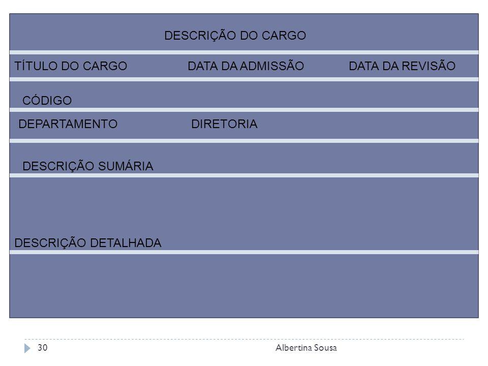 Albertina Sousa30 DESCRIÇÃO DO CARGO TÍTULO DO CARGODATA DA ADMISSÃODATA DA REVISÃO CÓDIGO DEPARTAMENTODIRETORIA DESCRIÇÃO SUMÁRIA DESCRIÇÃO DETALHADA