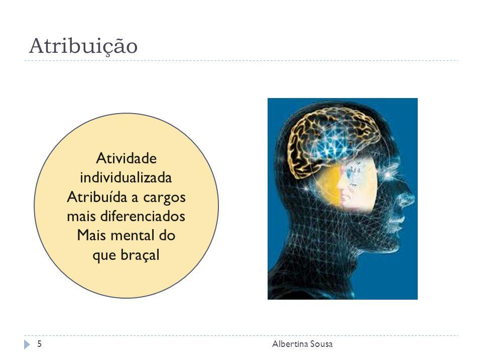 Atribuição Albertina Sousa5 Atividade individualizada Atribuída a cargos mais diferenciados Mais mental do que braçal