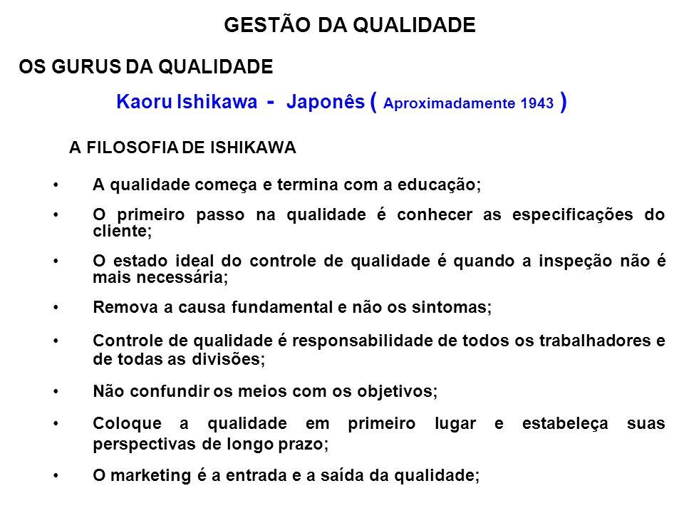 OS GURUS DA QUALIDADE Kaoru Ishikawa - Japonês ( Aproximadamente 1943 ) A FILOSOFIA DE ISHIKAWA A qualidade começa e termina com a educação; O primeir