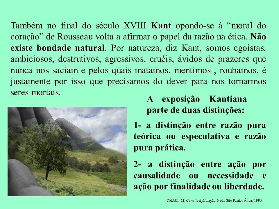 Kant Não existe bondade natural Também no final do século XVIII Kant opondo-se à moral do coração de Rousseau volta a afirmar o papel da razão na étic