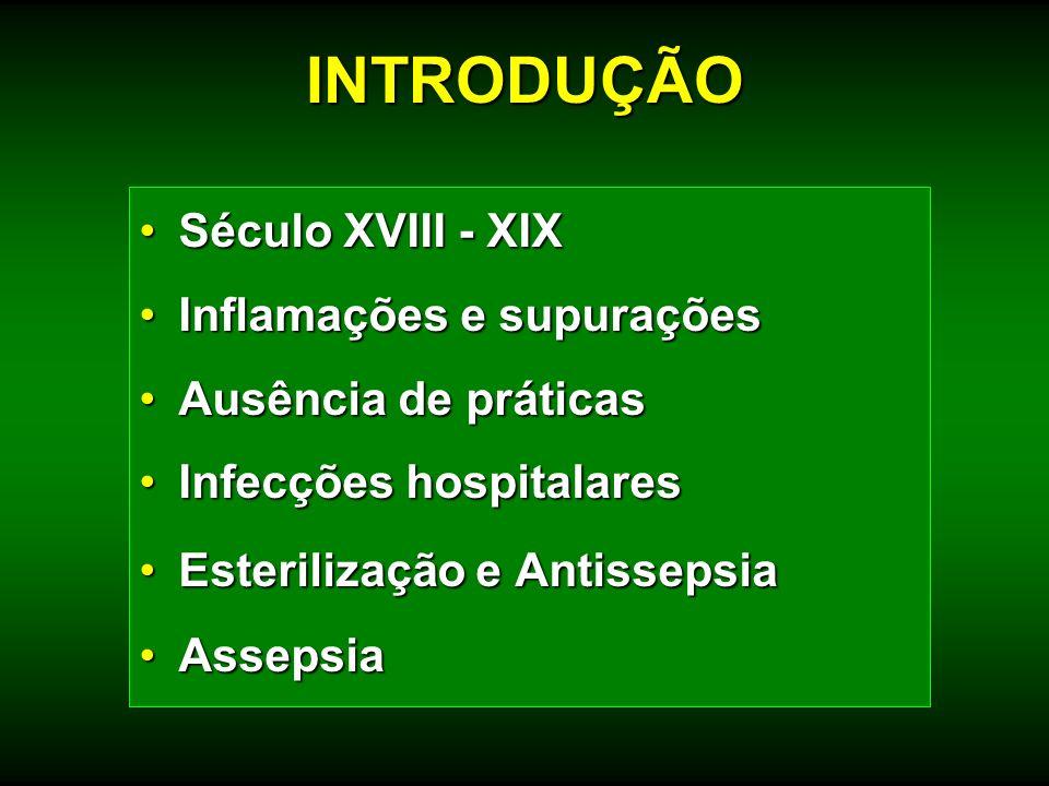 Século XVIII - XIXSéculo XVIII - XIX Inflamações e supuraçõesInflamações e supurações Ausência de práticasAusência de práticas Infecções hospitalaresI