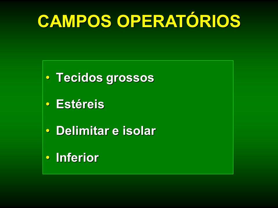 Tecidos grossosTecidos grossos EstéreisEstéreis Delimitar e isolarDelimitar e isolar InferiorInferior CAMPOS OPERATÓRIOS