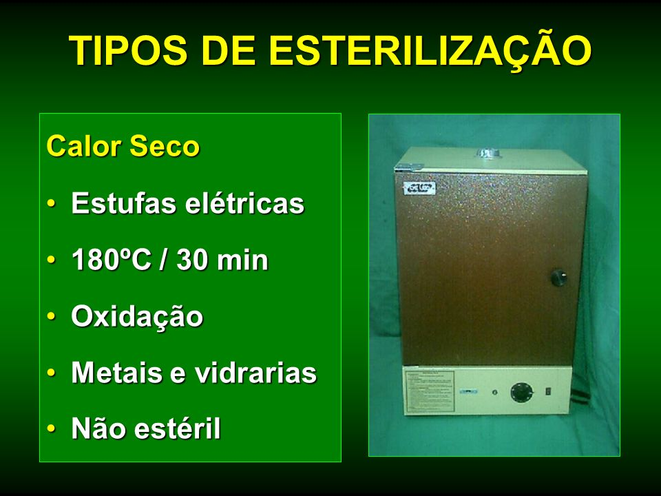 Calor Seco Estufas elétricasEstufas elétricas 180ºC / 30 min180ºC / 30 min OxidaçãoOxidação Metais e vidrariasMetais e vidrarias Não estérilNão estéri