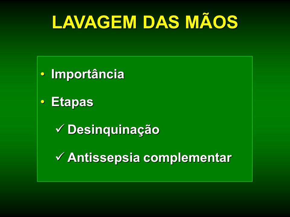ImportânciaImportância EtapasEtapas Desinquinação Desinquinação Antissepsia complementar Antissepsia complementar LAVAGEM DAS MÃOS