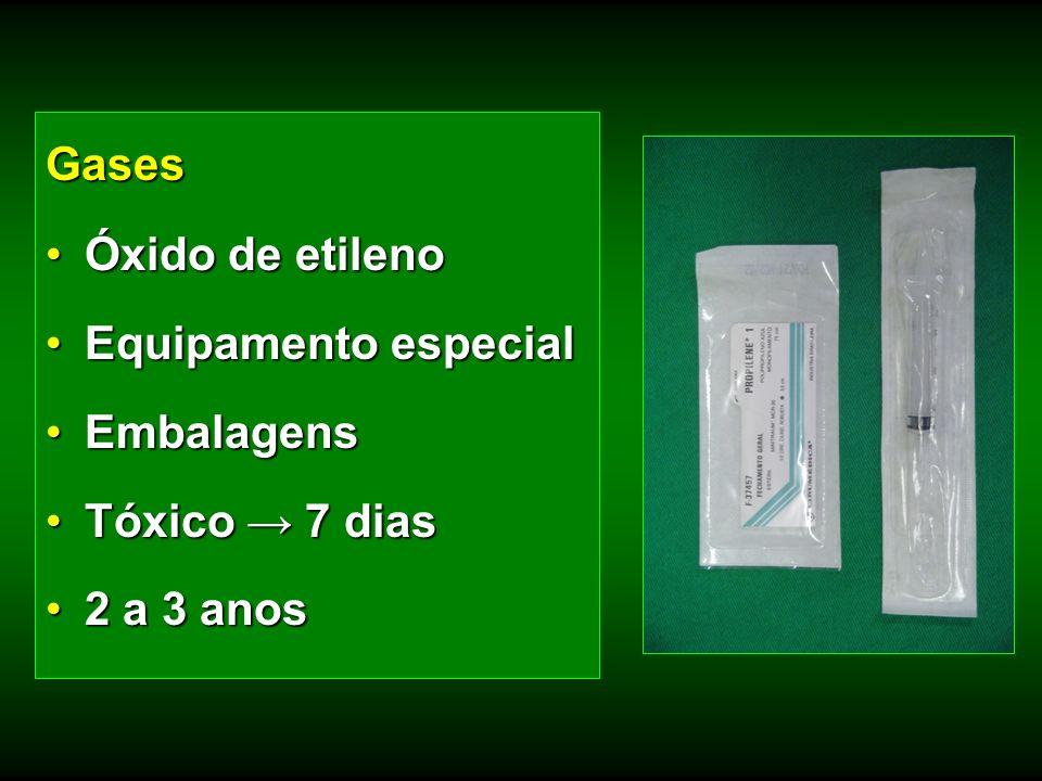 Gases Óxido de etilenoÓxido de etileno Equipamento especialEquipamento especial EmbalagensEmbalagens Tóxico 7 diasTóxico 7 dias 2 a 3 anos2 a 3 anos