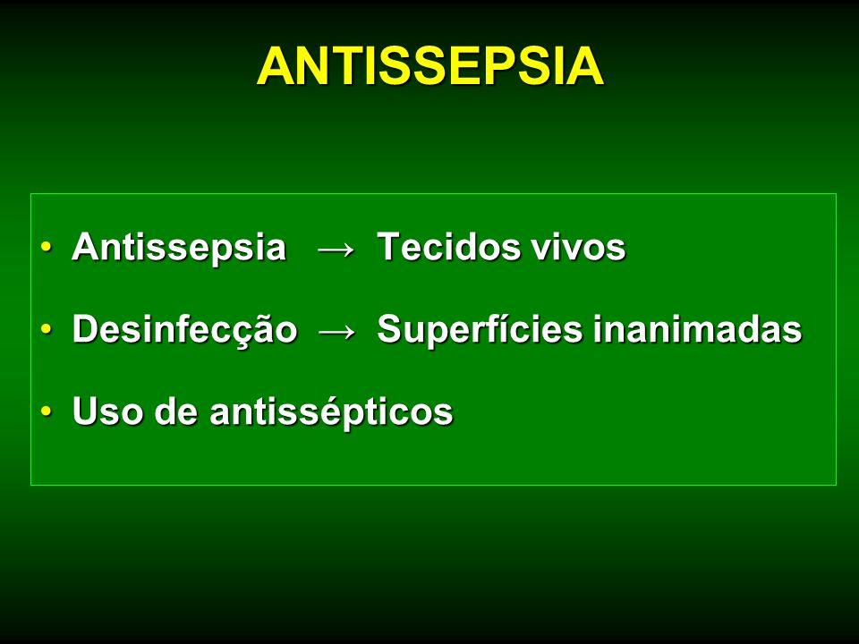Antissepsia Tecidos vivosAntissepsia Tecidos vivos Desinfecção Superfícies inanimadasDesinfecção Superfícies inanimadas Uso de antissépticosUso de ant