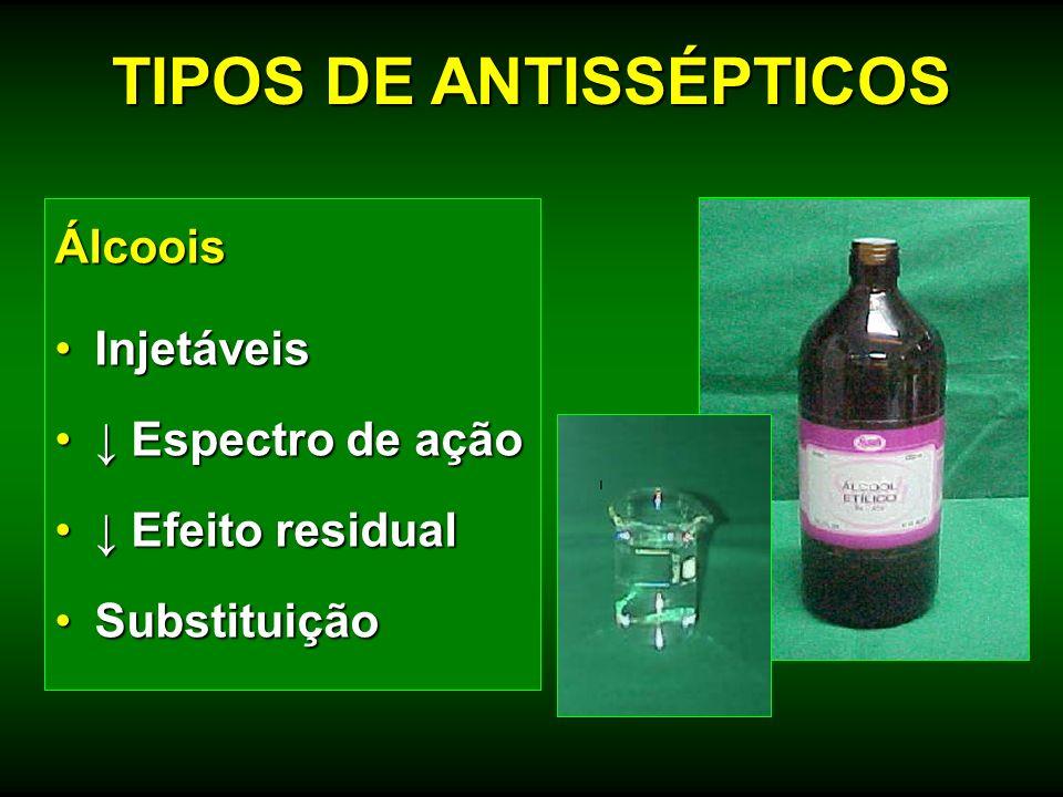 Álcoois InjetáveisInjetáveis Espectro de ação Espectro de ação Efeito residual Efeito residual SubstituiçãoSubstituição TIPOS DE ANTISSÉPTICOS
