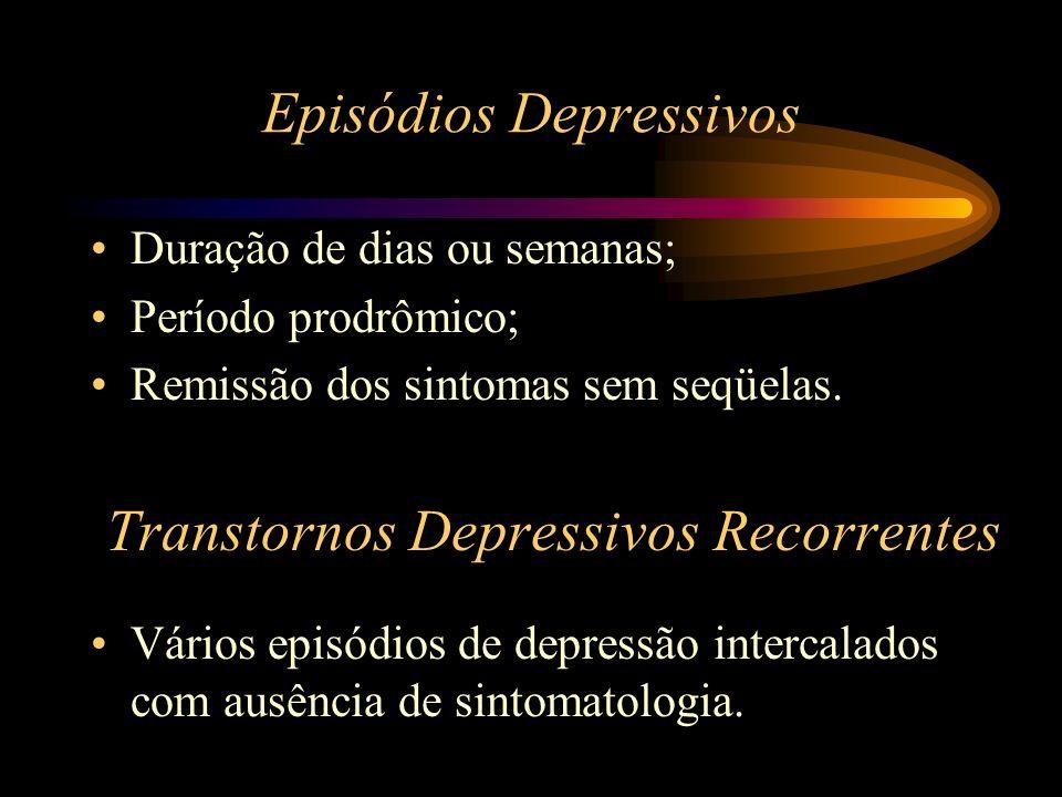 Episódios Depressivos Duração de dias ou semanas; Período prodrômico; Remissão dos sintomas sem seqüelas. Transtornos Depressivos Recorrentes Vários e