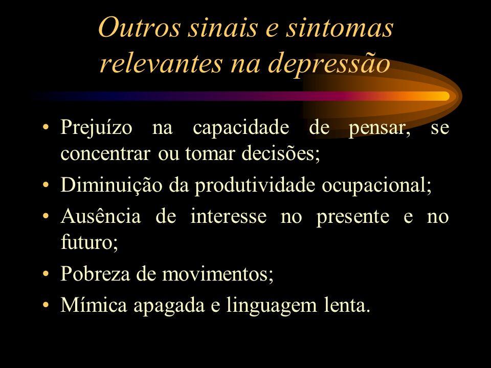 Outros sinais e sintomas relevantes na depressão Prejuízo na capacidade de pensar, se concentrar ou tomar decisões; Diminuição da produtividade ocupac