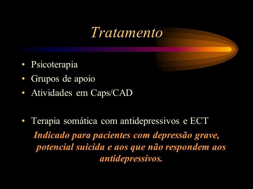 Tratamento Psicoterapia Grupos de apoio Atividades em Caps/CAD Terapia somática com antidepressivos e ECT Indicado para pacientes com depressão grave,