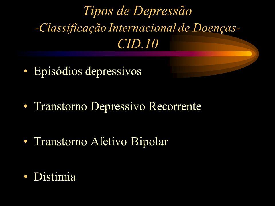 Tipos de Depressão -Classificação Internacional de Doenças- CID.10 Episódios depressivos Transtorno Depressivo Recorrente Transtorno Afetivo Bipolar D