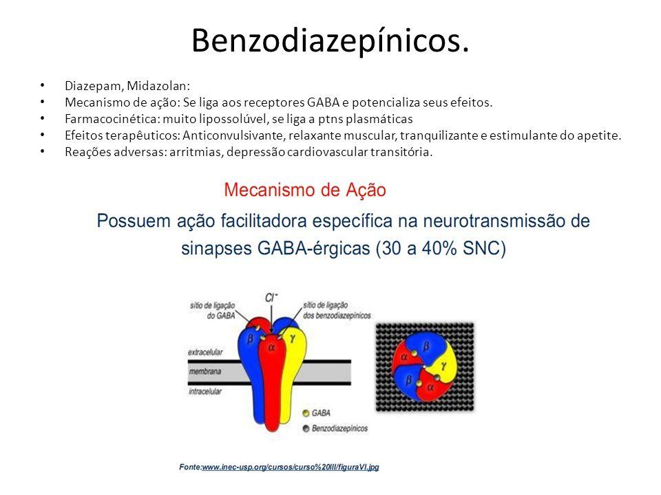 Benzodiazepínicos. Diazepam, Midazolan: Mecanismo de ação: Se liga aos receptores GABA e potencializa seus efeitos. Farmacocinética: muito lipossolúve