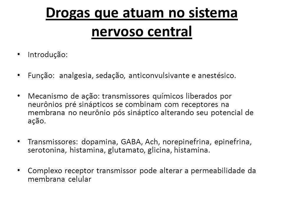 Drogas que atuam no sistema nervoso central Introdução: Função: analgesia, sedação, anticonvulsivante e anestésico. Mecanismo de ação: transmissores q