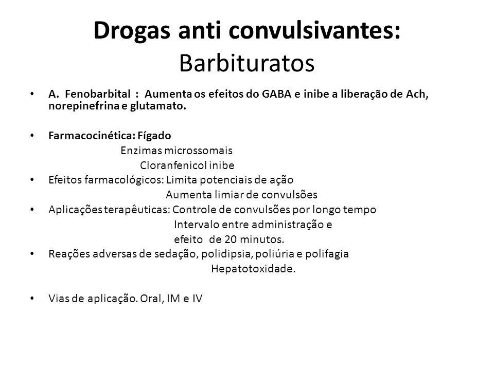 Drogas anti convulsivantes: Barbituratos A. Fenobarbital : Aumenta os efeitos do GABA e inibe a liberação de Ach, norepinefrina e glutamato. Farmacoci