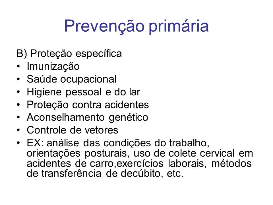 Prevenção primária B) Proteção específica Imunização Saúde ocupacional Higiene pessoal e do lar Proteção contra acidentes Aconselhamento genético Cont