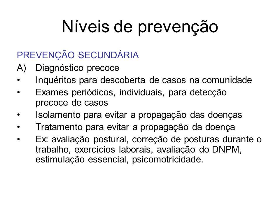 Níveis de prevenção PREVENÇÃO SECUNDÁRIA A)Diagnóstico precoce Inquéritos para descoberta de casos na comunidade Exames periódicos, individuais, para