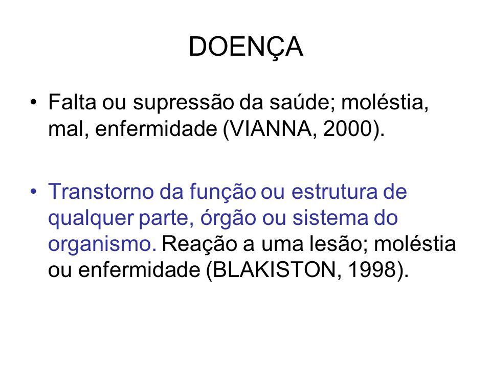 DOENÇA Falta ou supressão da saúde; moléstia, mal, enfermidade (VIANNA, 2000). Transtorno da função ou estrutura de qualquer parte, órgão ou sistema d
