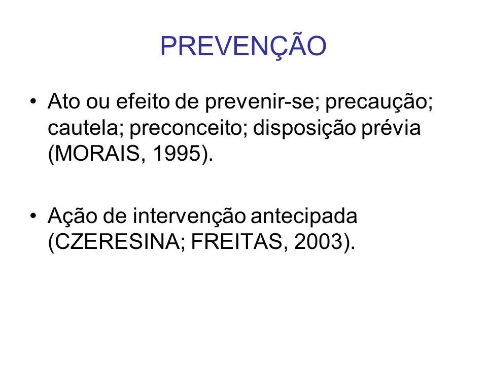 PREVENÇÃO Ato ou efeito de prevenir-se; precaução; cautela; preconceito; disposição prévia (MORAIS, 1995). Ação de intervenção antecipada (CZERESINA;
